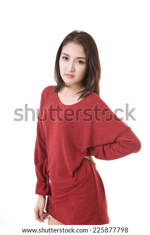 woman suffers from back pain - stock photo