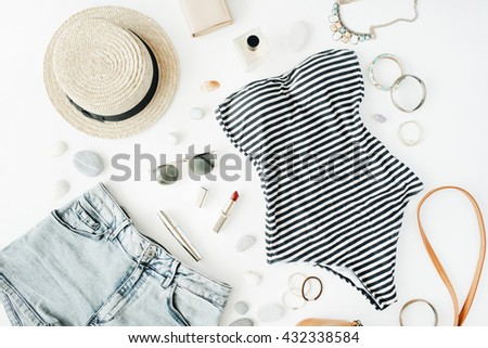 woman summer clothes and accessories collage on white, flat lay, top view - stock photo