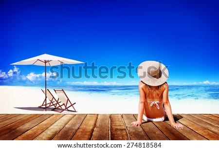 Woman Sunbathe Sunny Summer Beach Relaxing Concept - stock photo