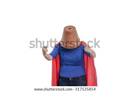Woman superhero with a red cape and a flower pot on her head, white  background.