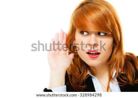 woman surprised with hand to ear listening secret gossip or quiet sound. girl eavesdroping. - stock photo