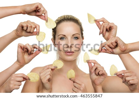 woman surrounded by hands holding crisps being  tempted to forget about the diet