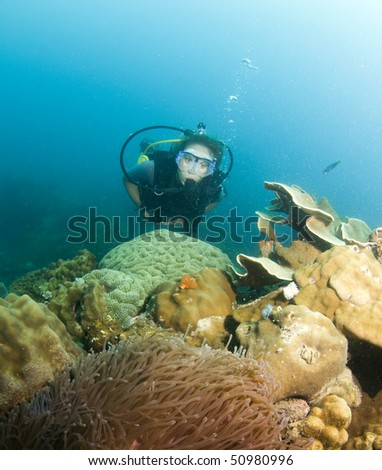 woman swimming over reef in scuba