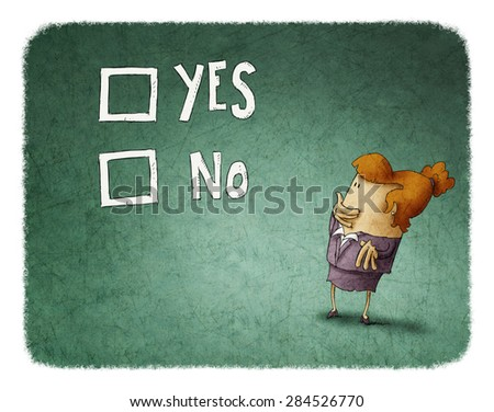 woman take a decision between yes or no - stock photo