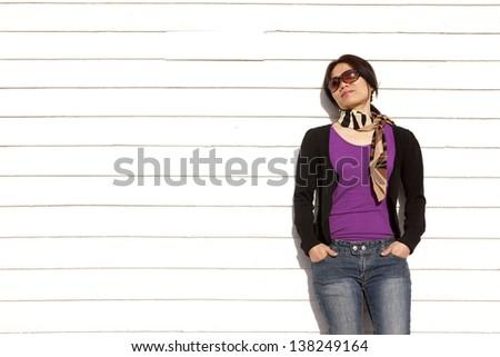 Woman takes in the sun. - stock photo