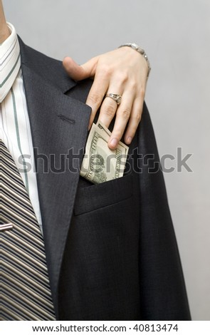 Woman takes money from jacket pocket men.