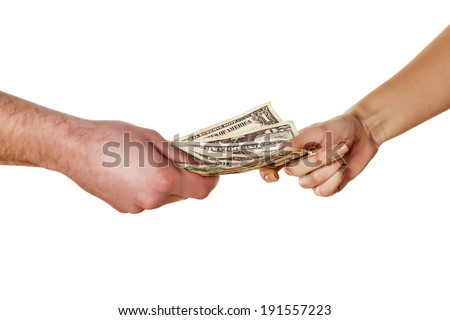 woman takes money from the man's hands