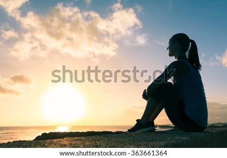 Woman taking in the beautiful view.  - stock photo