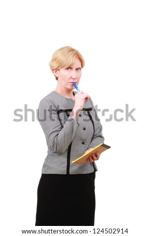 Woman taking notes - stock photo