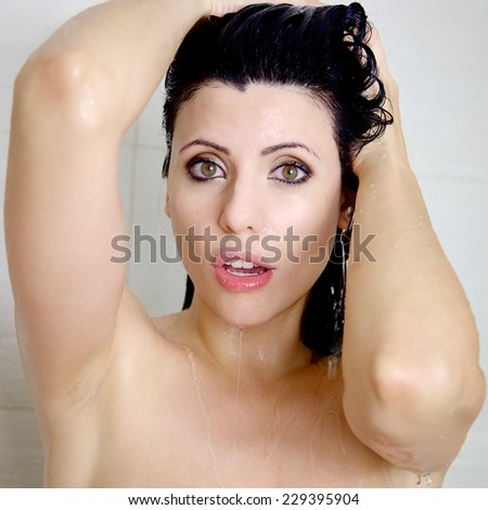 Woman taking shower emotional expression