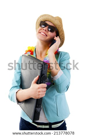 woman talking by phone smiling in hawaii flowers over white background