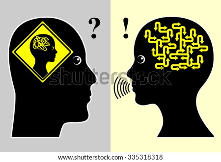 Woman Talking in Riddles. Humorous concept sign of a man cannot decode the message of a woman while he thinks she must be crazy - stock photo
