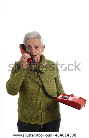 woman talking on old phone