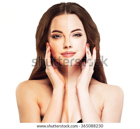 woman tan half face beautiful portrait spray