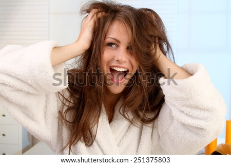 woman tearing her hair