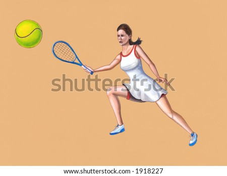Woman tennis player. Hand painted illustration. - stock photo