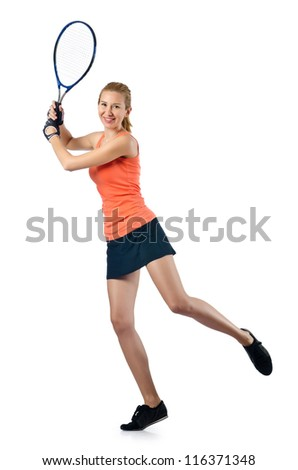 Woman tennis player on white - stock photo