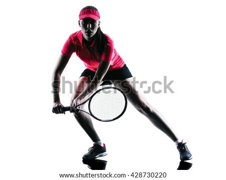 woman tennis player sadness silhouette - stock photo