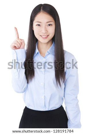 Woman that raised the index finger - stock photo