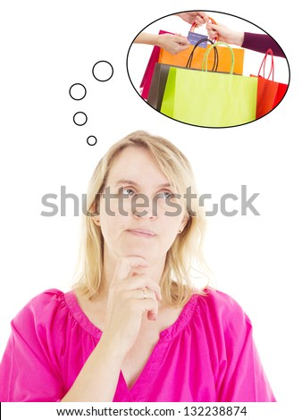 Woman thinking about shopping - stock photo