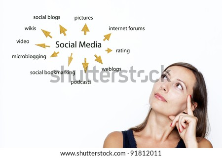 Woman thinking about social media - stock photo