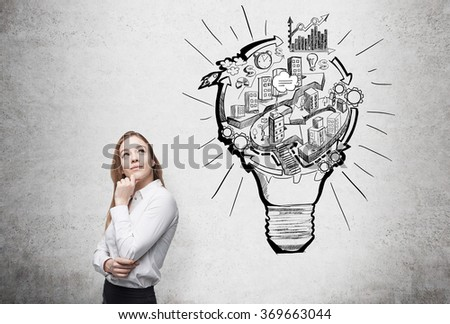 woman thinking about work, a picture of bulb with stages of organizing a business process in it. Concrete background. Concept of running a business. - stock photo