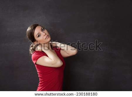 Woman thinking blackboard/chalkboard concept