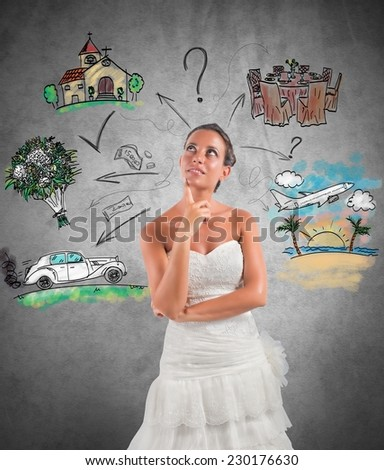 Woman thinks how to organize her wedding - stock photo
