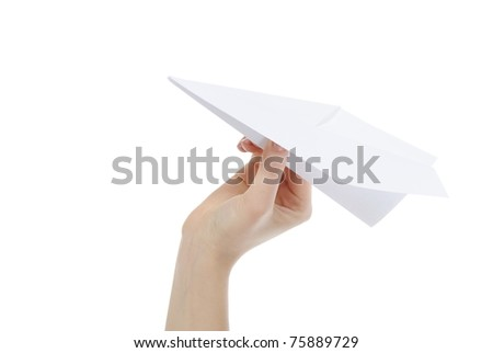 woman throwing white paper plane. Isolated on white background - stock photo