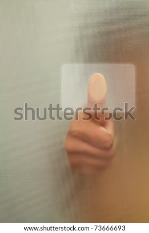 Woman Thumb  finger push button - stock photo