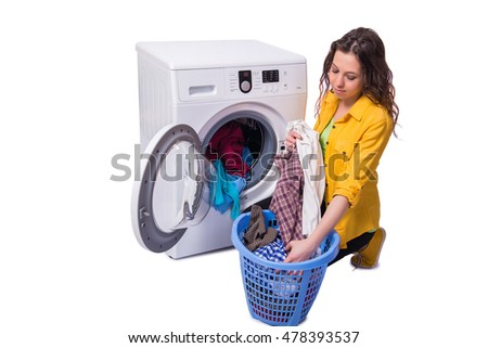 Woman tired after doing laundry isolated on white
