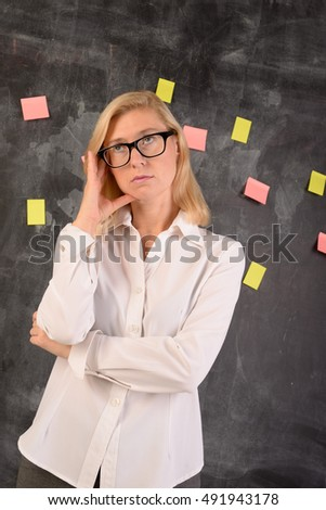 Woman tired with business challenge concept