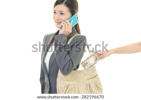 Woman to be stolen money - stock photo