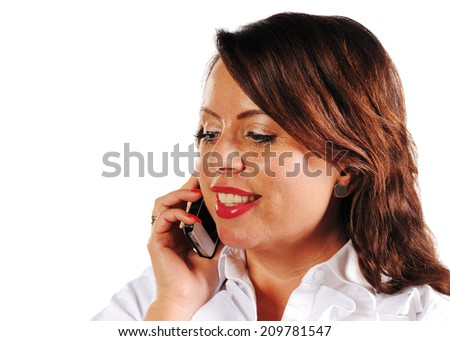 woman to call with a mobile phone