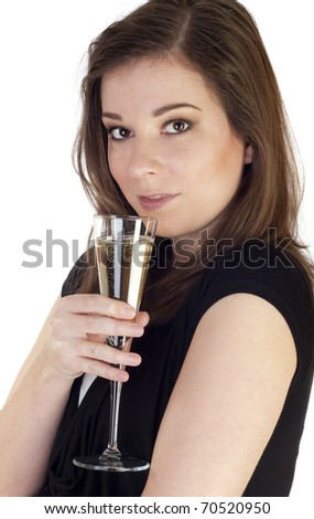 Woman toast with champagne isolated on white