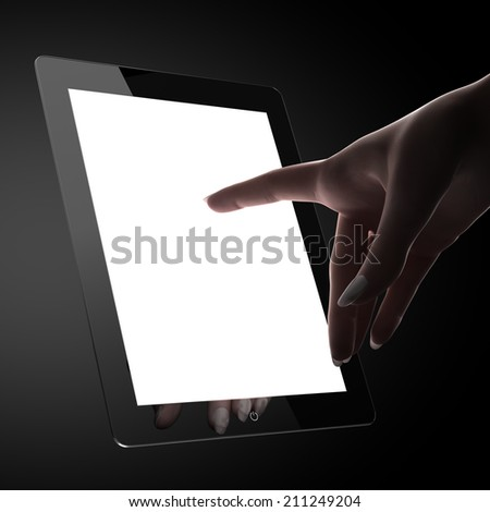 Woman touching blank pad display