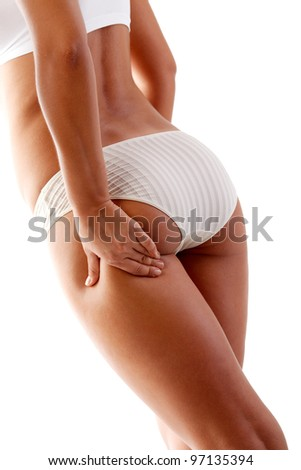 Woman touching her body - stock photo
