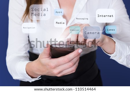 Woman touching touchscreen of Smartphone - stock photo