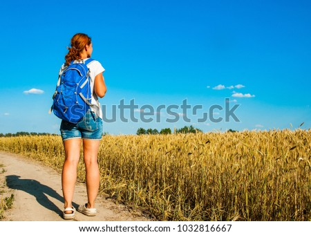 woman tourist with a backpack walking along the road past the wheat field. back view
