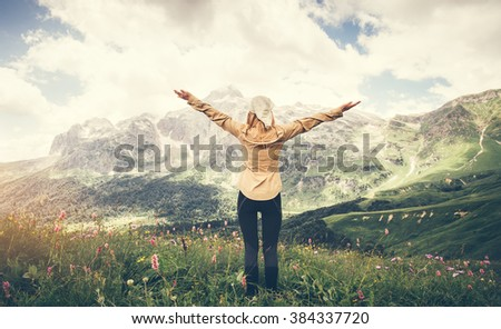 Woman Traveler hands raised hiking Travel Lifestyle concept Summer vacations outdoor rocky mountains on background - stock photo