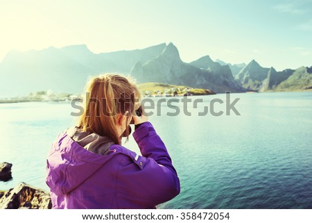 Woman traveler in Norway  - stock photo