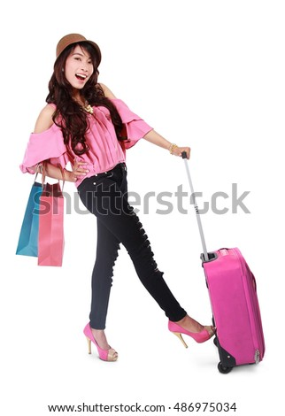 woman traveling with shopping bags, isolated on white background