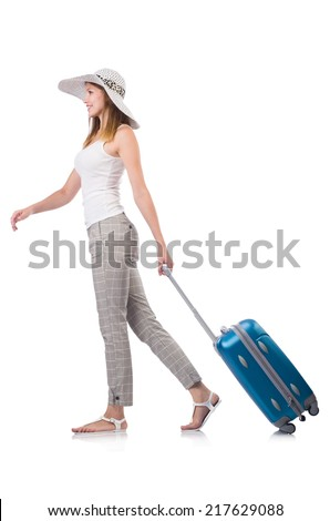 Woman traveller with suitcase isolated on white - stock photo