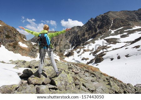 Woman travels to the mountains and admire the view - stock photo