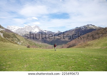woman trekking at Picos de Europa mountains in Asturias