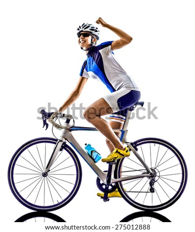 woman triathlon ironman athlete  cyclist cycling on white background - stock photo