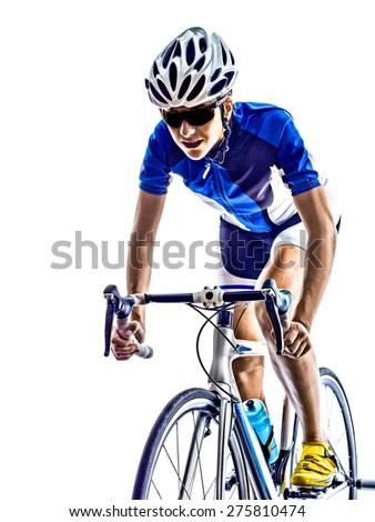 woman triathlon ironman athlete  cyclist cycling on white background - stock photo