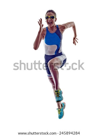 woman triathlon ironman athlete runner running  on white background - stock photo