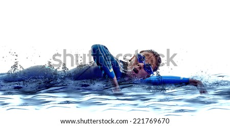 woman triathlon ironman athlete  swimmers on white background - stock photo