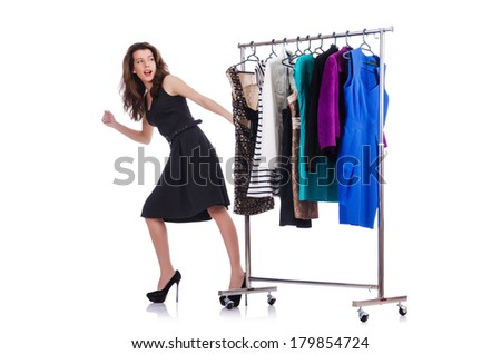 Woman trying new clothing on white - stock photo